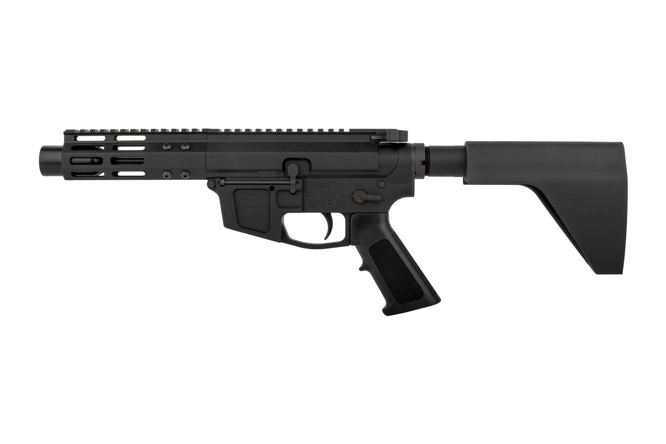 The Foxtrot Mike Products AR pistol uses a standard safety selector