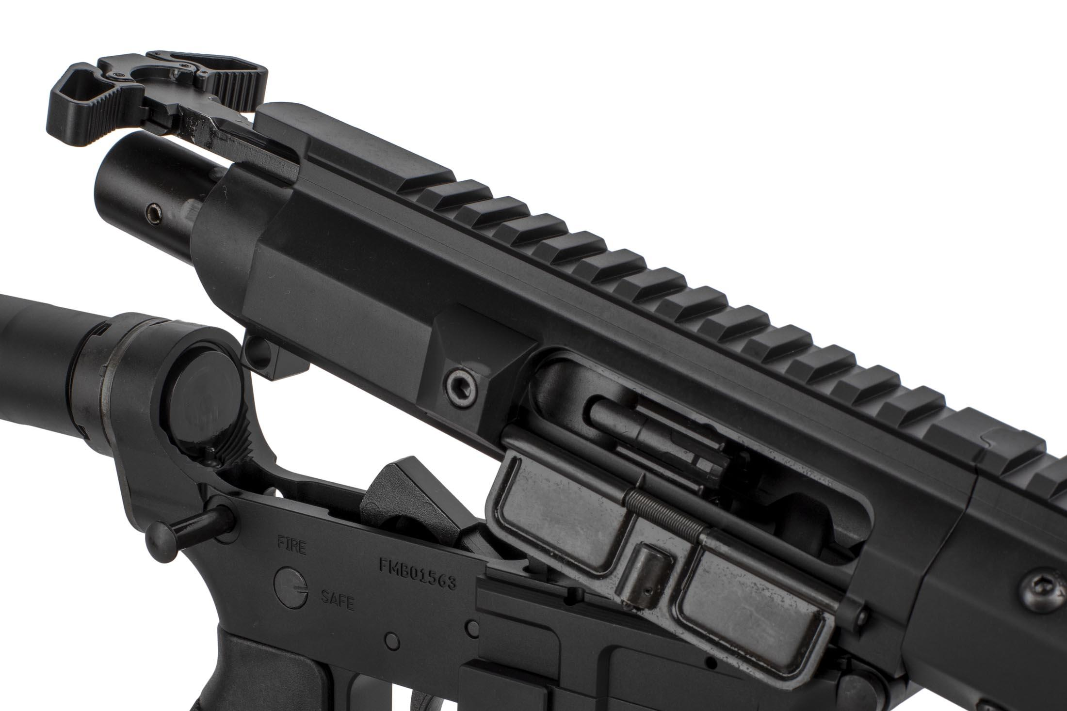 The FM Products 9mm AR-9 features a Radian Raptor ambidextrous charging handle
