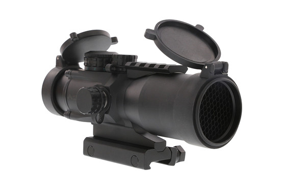The Primary Arms anti-reflection device killflash for the 5x prism optic fits under the flip up scope covers