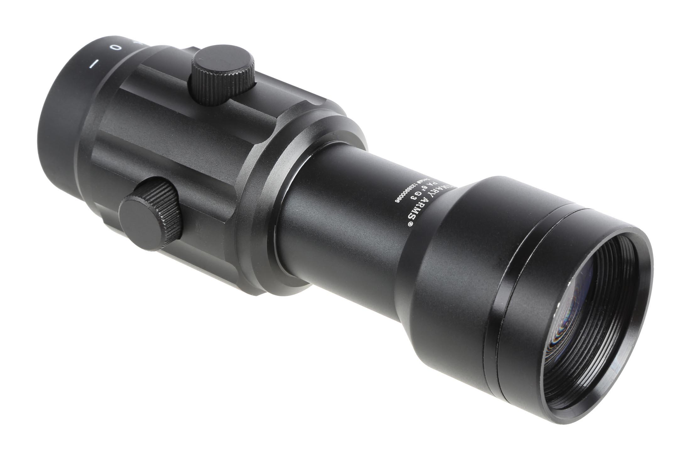 The Primary Arms 6x Magnifier is made from aluminum with anodized black finish