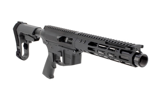 "Foxtrot Mike Products 7"" AR pistol accepts .45 caliber Glock-compatible magazines."