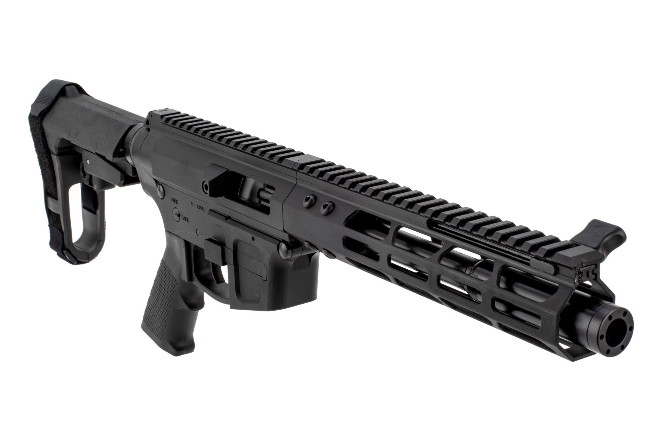 Foxtrot Mike Products glock-style 7 9mm side charger AR pistol is a PA exclusive with SBA3 pistol stabilizing brace