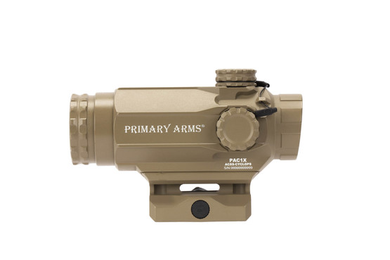 Primary Arms FDE 1x prism scope with ACSS Cyclops reticle is compact and lightweight.