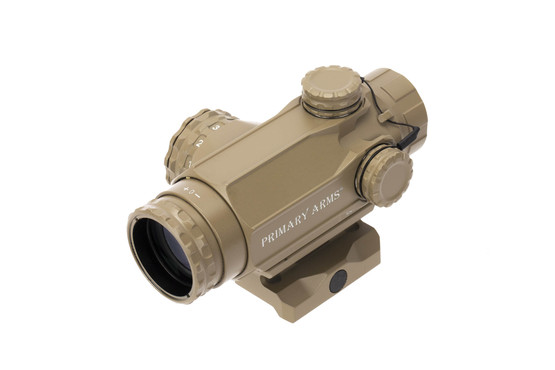 Prism Arms 1x Compact Prism Scope FDE with ACSS Cyclops reticle features a fast focus eye piece.
