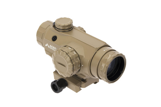 Primary Arms 1x Prism scope FDE with ACSS Cyclops glass etched reticle features 11 brightness settings.