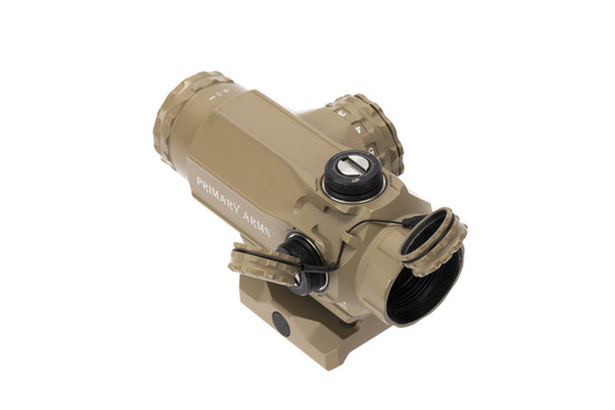 Primary Arms 1X compact prism scope FDE has capped turrets with 1/2 MOA clicks
