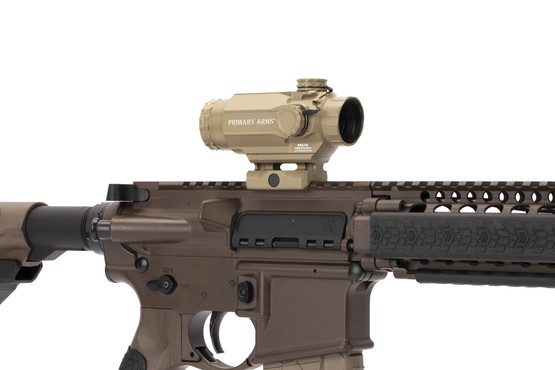 Primary Arms 1x Compact FDE Prism Scopes with ACSS Cyclops reticle has 3.7in of eye relief