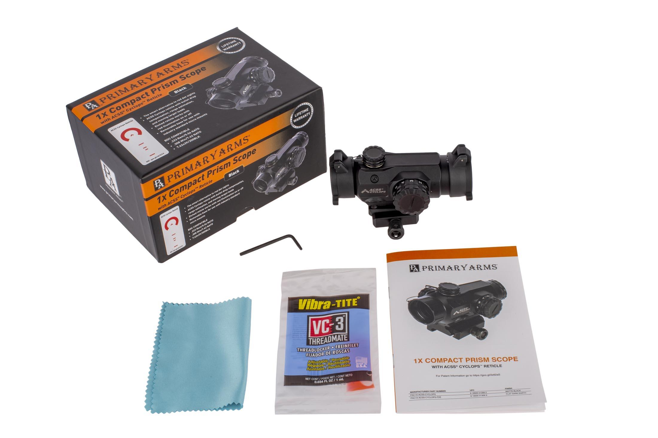 Primary Arms Silver Series Compact 1x20 Prism Scope - ACSS-Cyclops