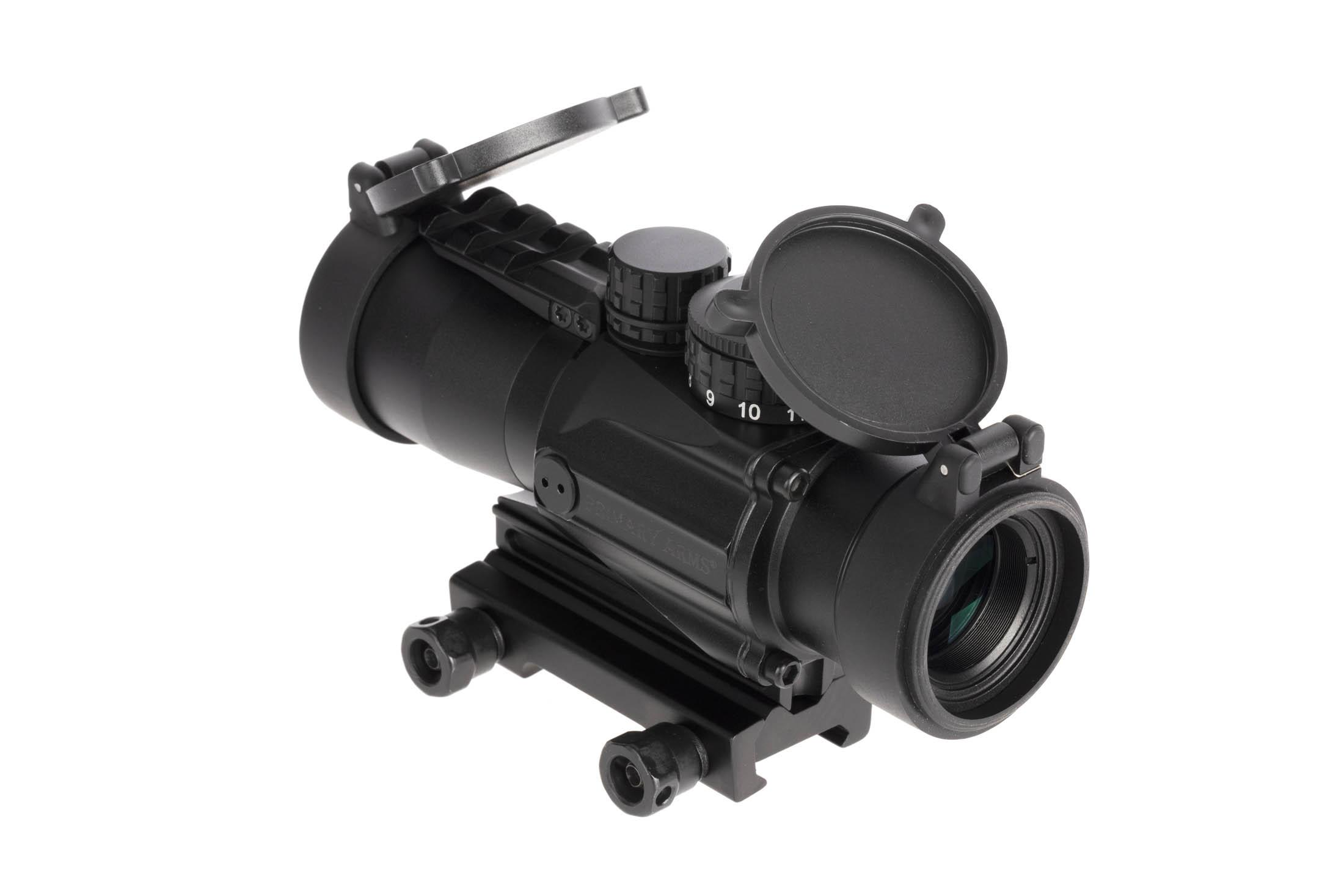 Primary Arms Gen 2 3x prism scope with 5.56 ACSS CQB-M2 reticle ships with flip up lens covers and a thumbscrew mount