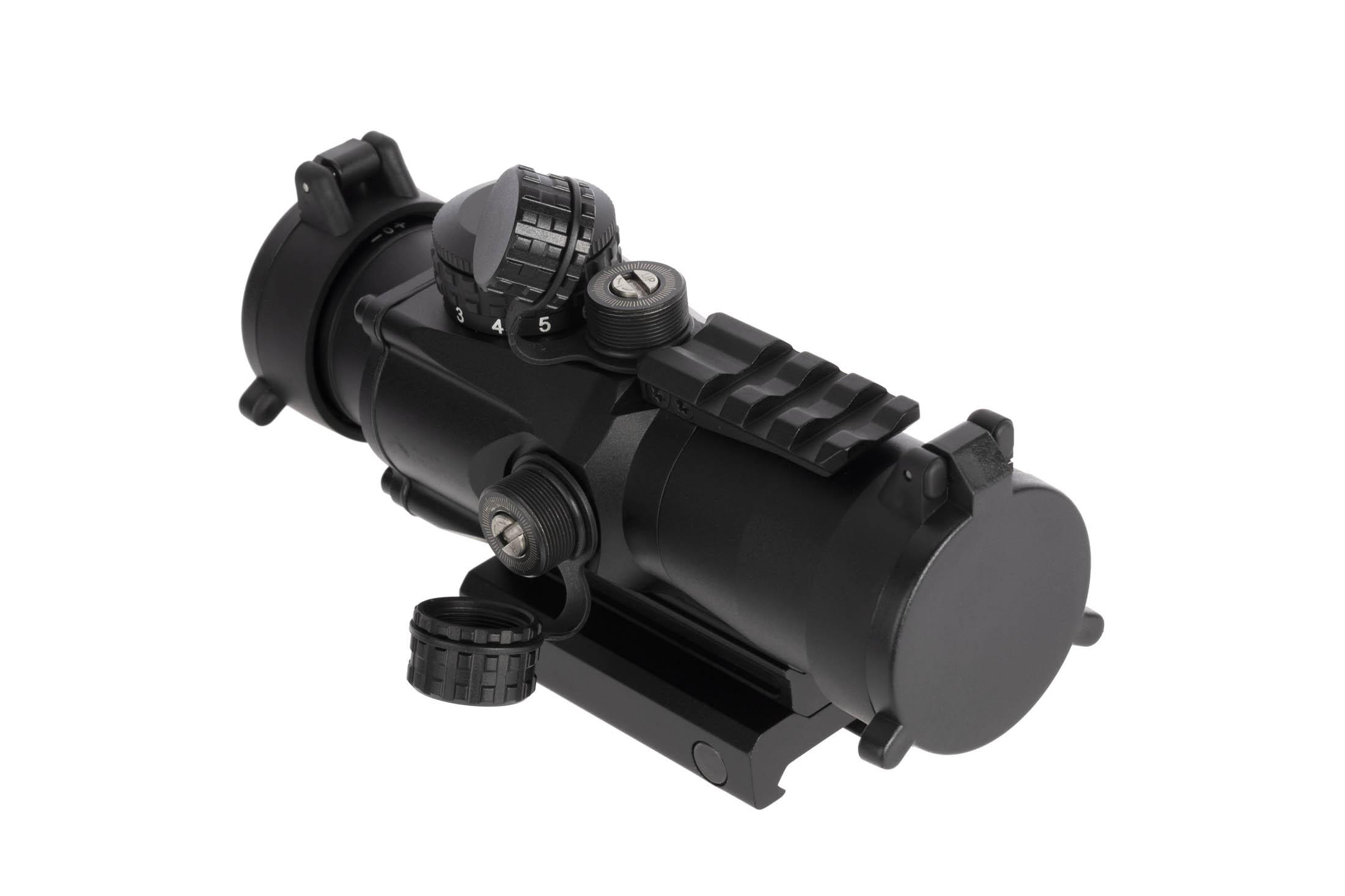 Primary Arms Compact 3X Prism Scope Gen 2 ACSS 5.56 CQB-M2 has a black finish with tool-adjust turrets