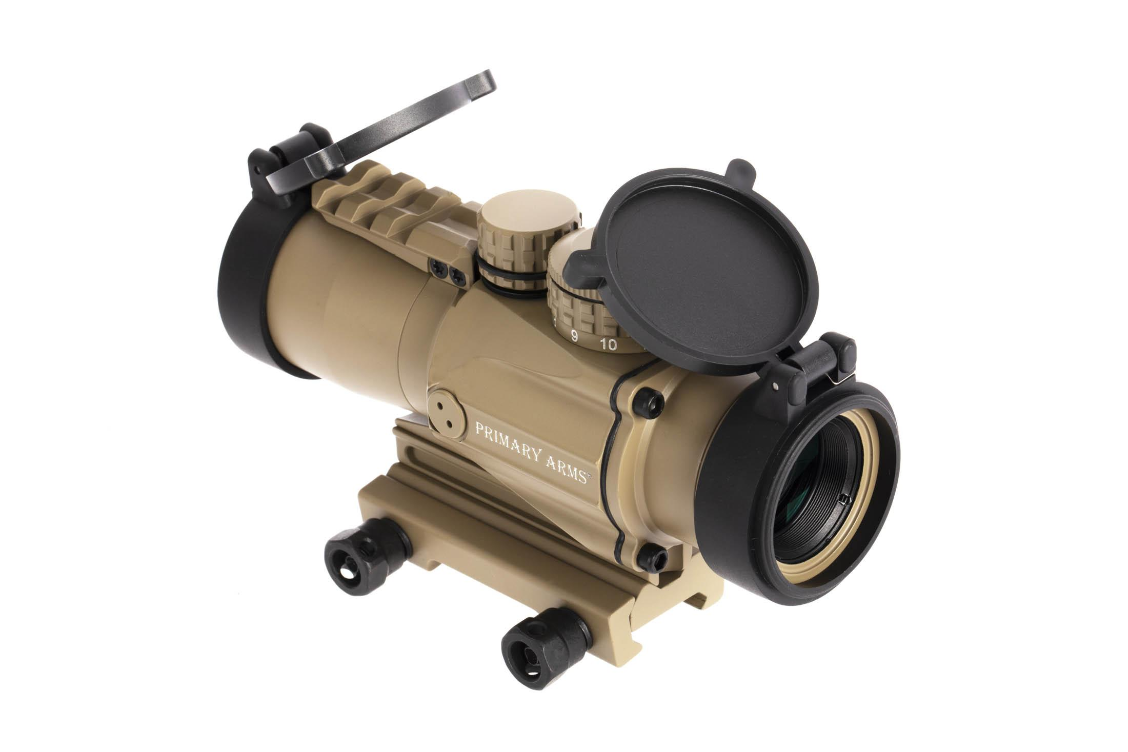 Primary Arms Gen 2 3x FDE prism scope with 5.56 ACSS CQB-M2 reticle ships with flip up lens covers and a thumbscrew mount