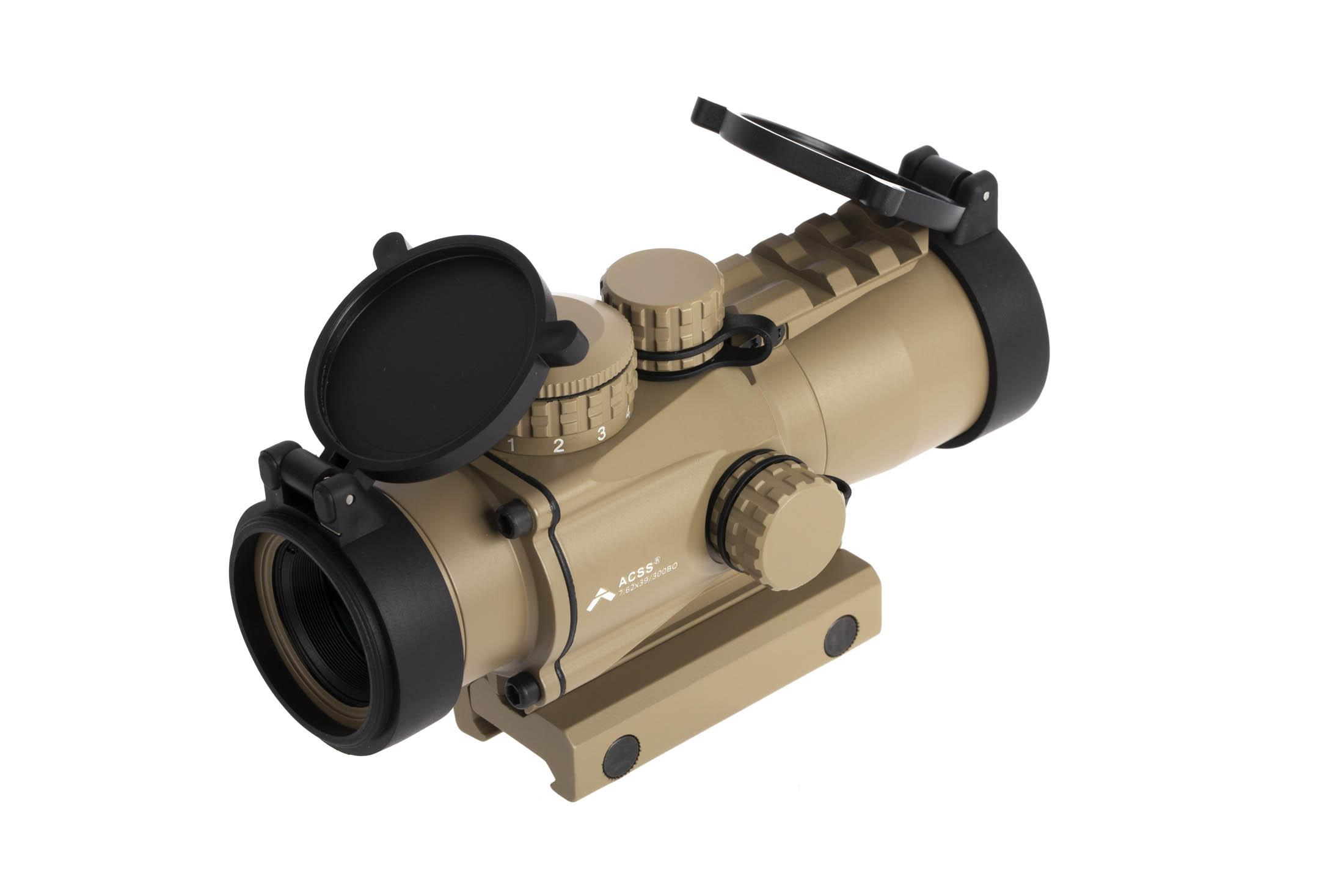 Primary Arms Gen2 3X compact prism scope with ACSS 7.62x29 / 300 BLK CQB reticle has a removable FDE picatinny top rail