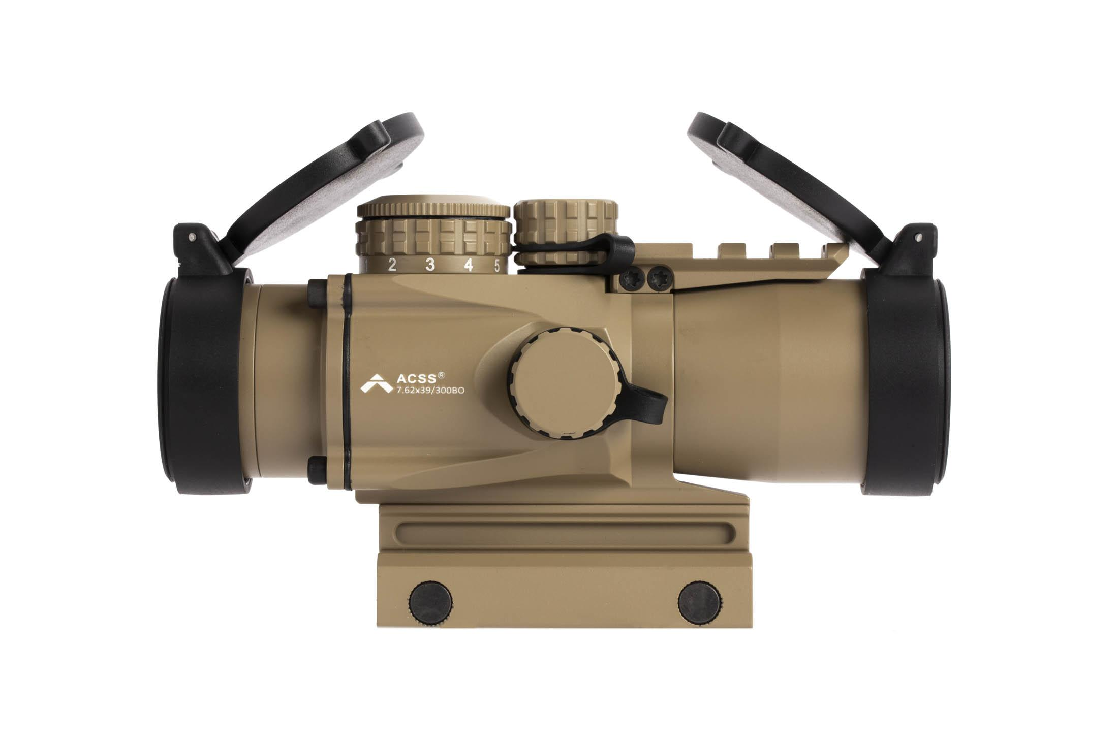 PA flat dark earth 3X Prism scope gen 2 with ACSS 7.62x29 / 300 BLK CQB reticle has tethered caps and 11 brightness settings