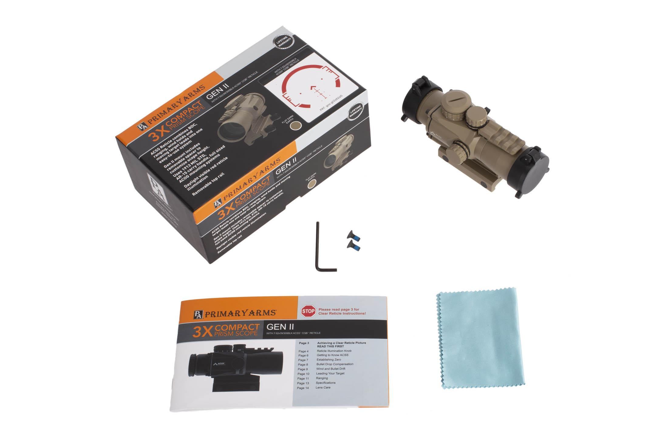 Primary Arms FDE 3x Compact Prism Scope includes manual, spare screws, mount, tool, flip caps, and lens cleaning cloth