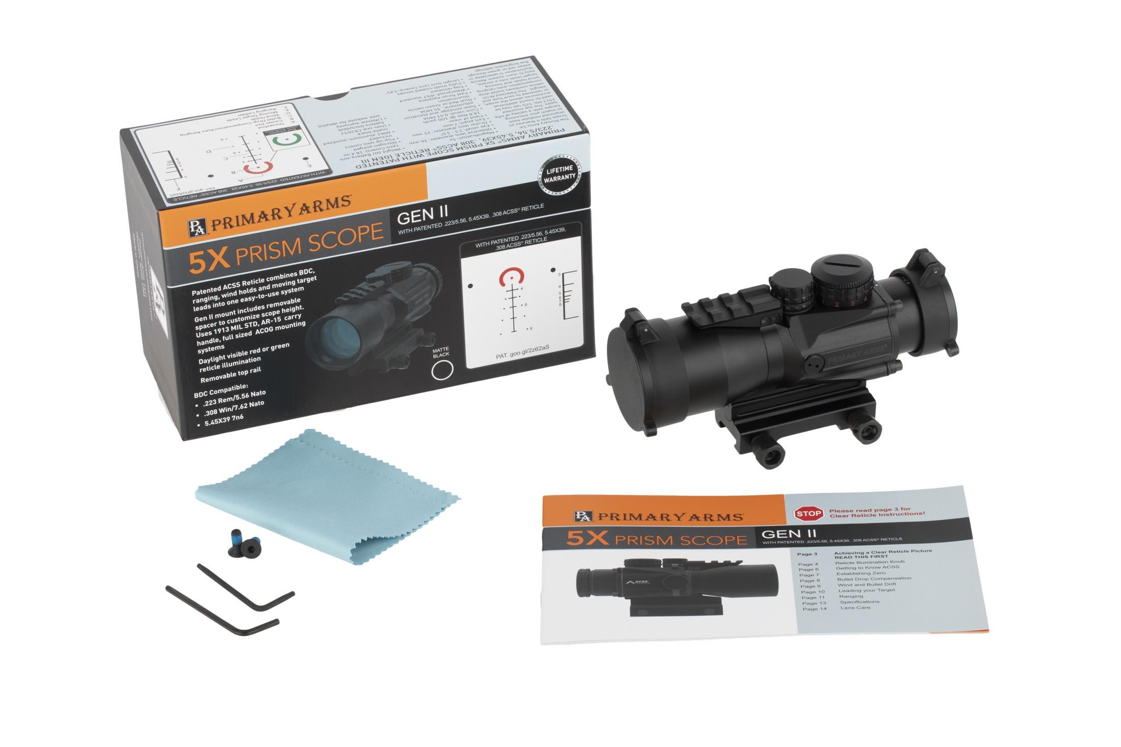 Primary Arms Silver Series Compact 5x36 Gen II Prism Scope -  ACSS-5 56/5 45/ 308