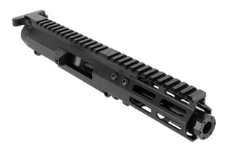 The Foxtrot Mike Products complete 9mm upper comes with a 5 inch barrel and blast diffuser