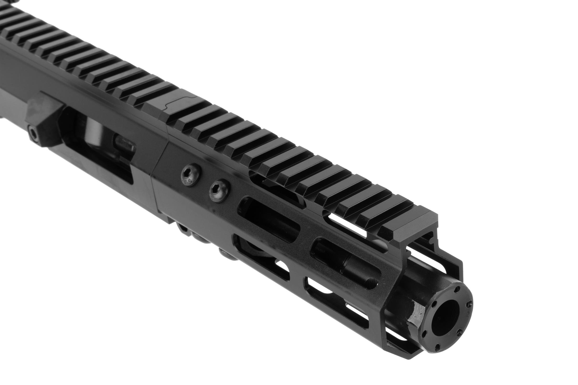 The FM Products 9mm AR complete upper has a full length picatinny top rail