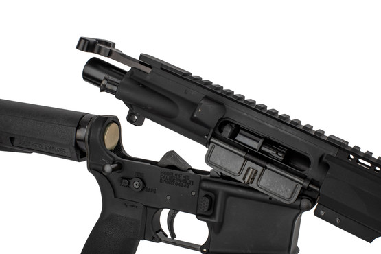 "Radical Firearms 5.56 NATO AR-15 pistol with 10.5"" barrel and Shockwave Brace has an M16 cut BCG and standard charging handle"