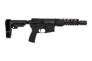 "Radical Firearms 7.5"" Primary Arms exclusive 5.56 NATO AR-15 pistol with M4 contour barrel, 7"" M-LOK rail, and SB Tactical SBA3 brace."