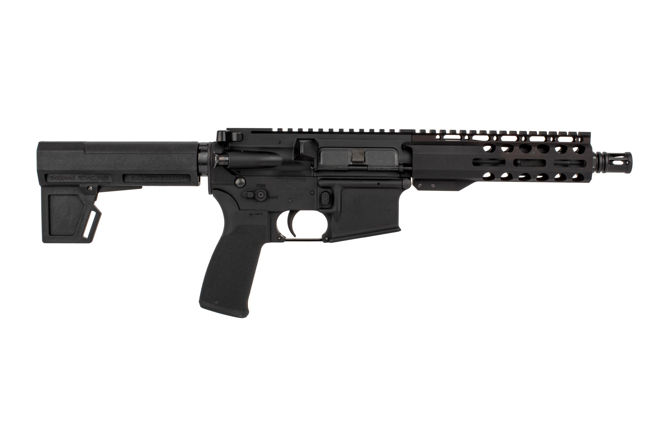 "Radical Firearms 7.5 Primary Arms exclusive 5.56 NATO AR-15 pistol with M4 contour barrel, 7"" M-LOK rail, and Shockwave 2M brace."