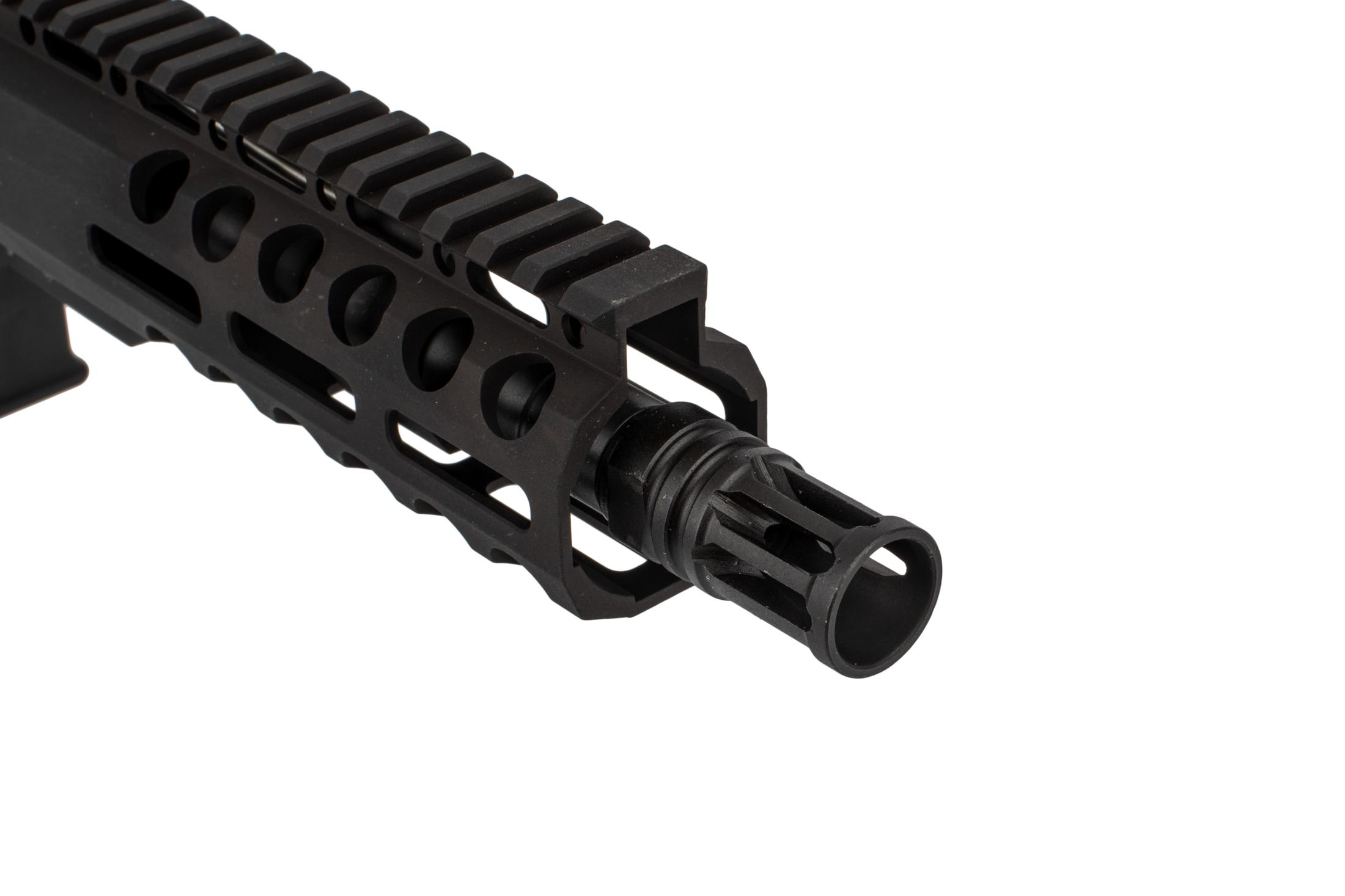 Radical Firearms 5.56 NAT O AR pistol with 7.5 barrel is threaded 1/2x28 with an A2 flash hider, M-LOK rail, and Shockwave 2M brace