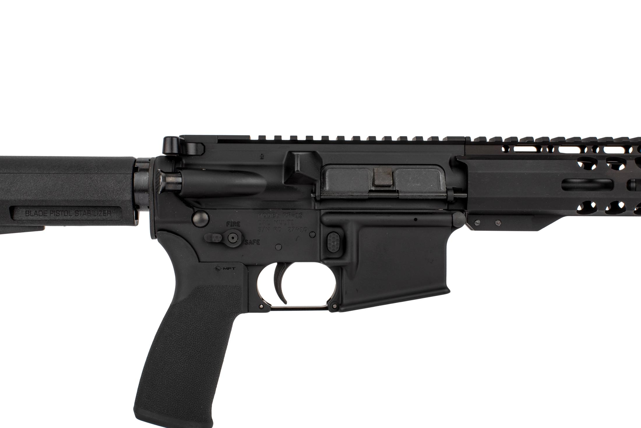 Radical Firearms 7.5 AR 15 pistol with PA exclusive M-LOK rail and Shockwave 2M brace has MFT pistol grip and ambi safety selector