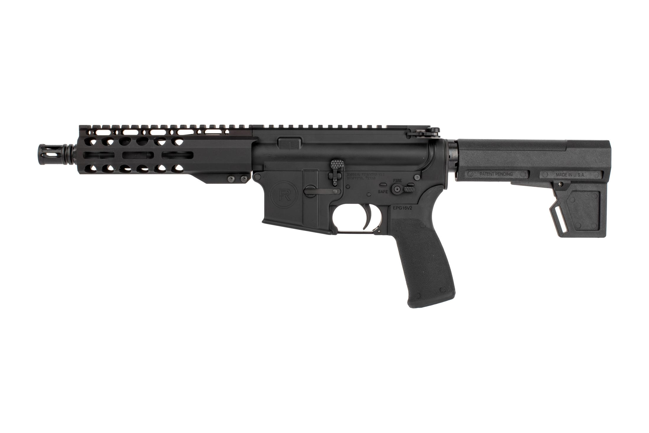 Radical Firearms 7.5 AR pistol with Primary Arms Exclusive M-LOK rail and Shoackwave 2M brace has a carbine gas system.