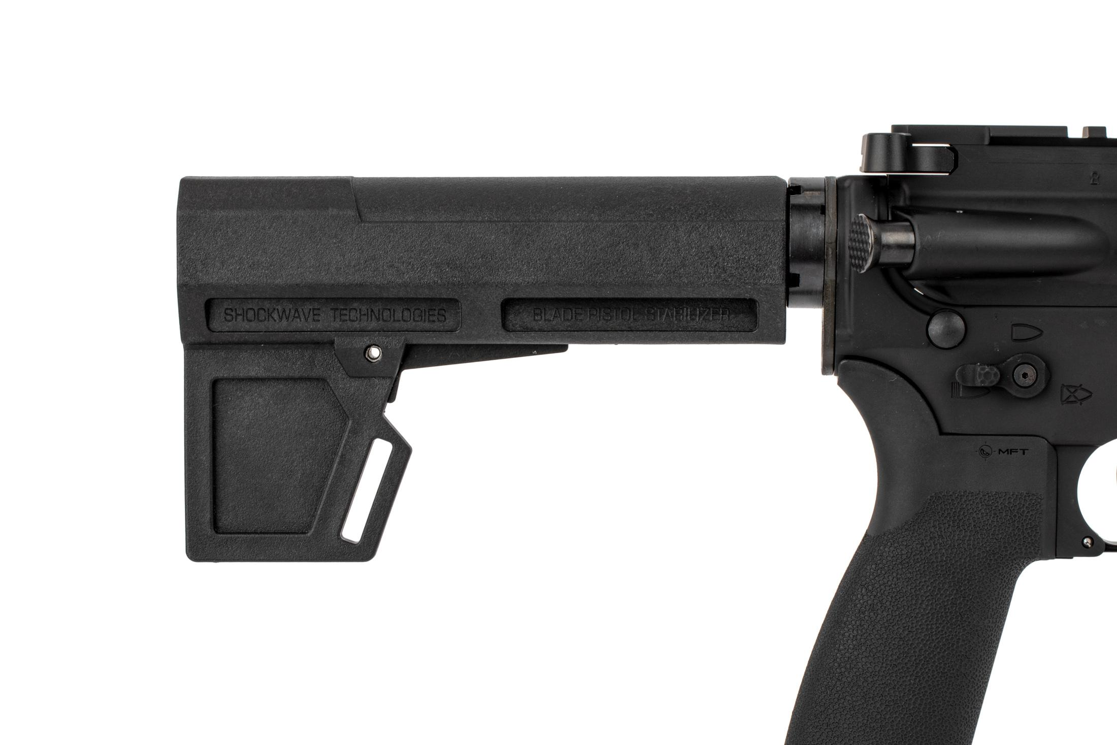 The Radical Firearms 300 AAC BLK AR-15 Pistol with blade stabilizer features an MFT ergonomic pistol grip