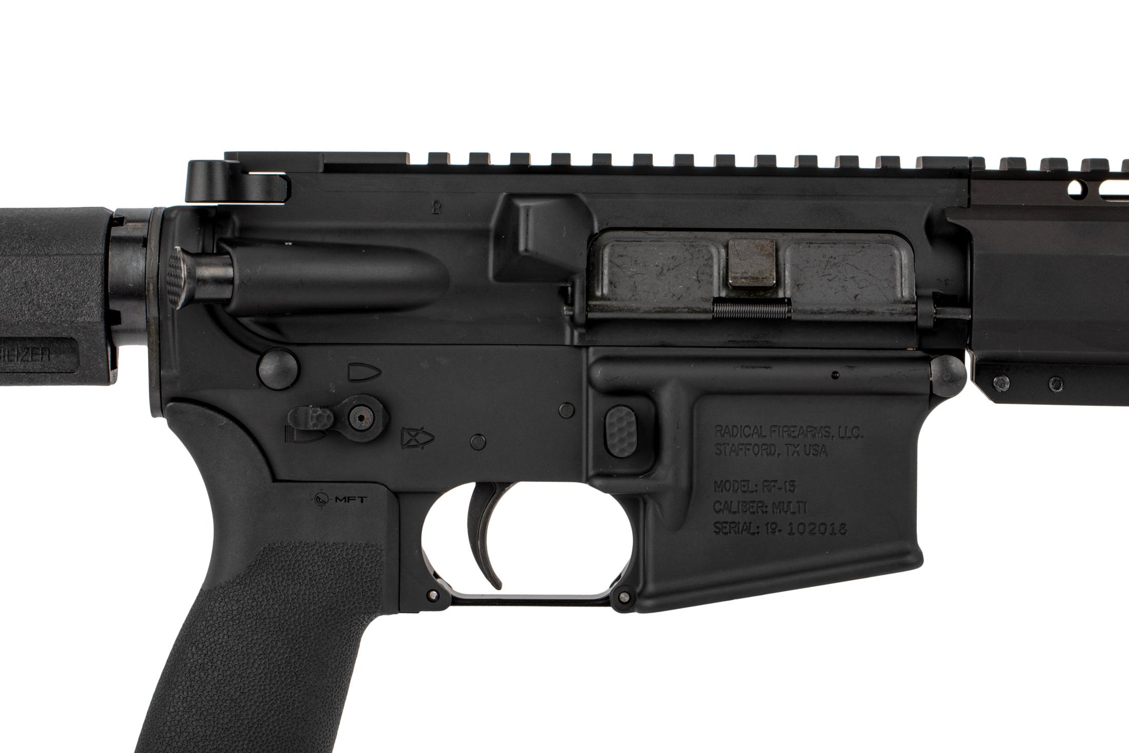 The Radical Firearms 300 Blackout AR 15 Pistol features an ambidextrous safety selector
