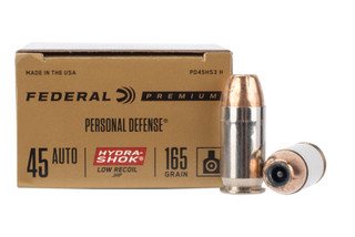 Federal HydraShok 45 ACP ammo features a jacketed hollow point design