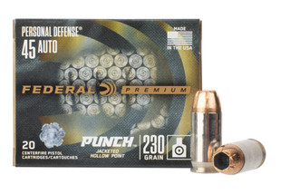 Federal Premium Punch 45 ACP hollow point ammo comes in a box of 20
