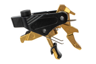 HIPERFIRE PDI Gold Drop In AR-15 Trigger Assembly is gold in color with a smooth, polished look