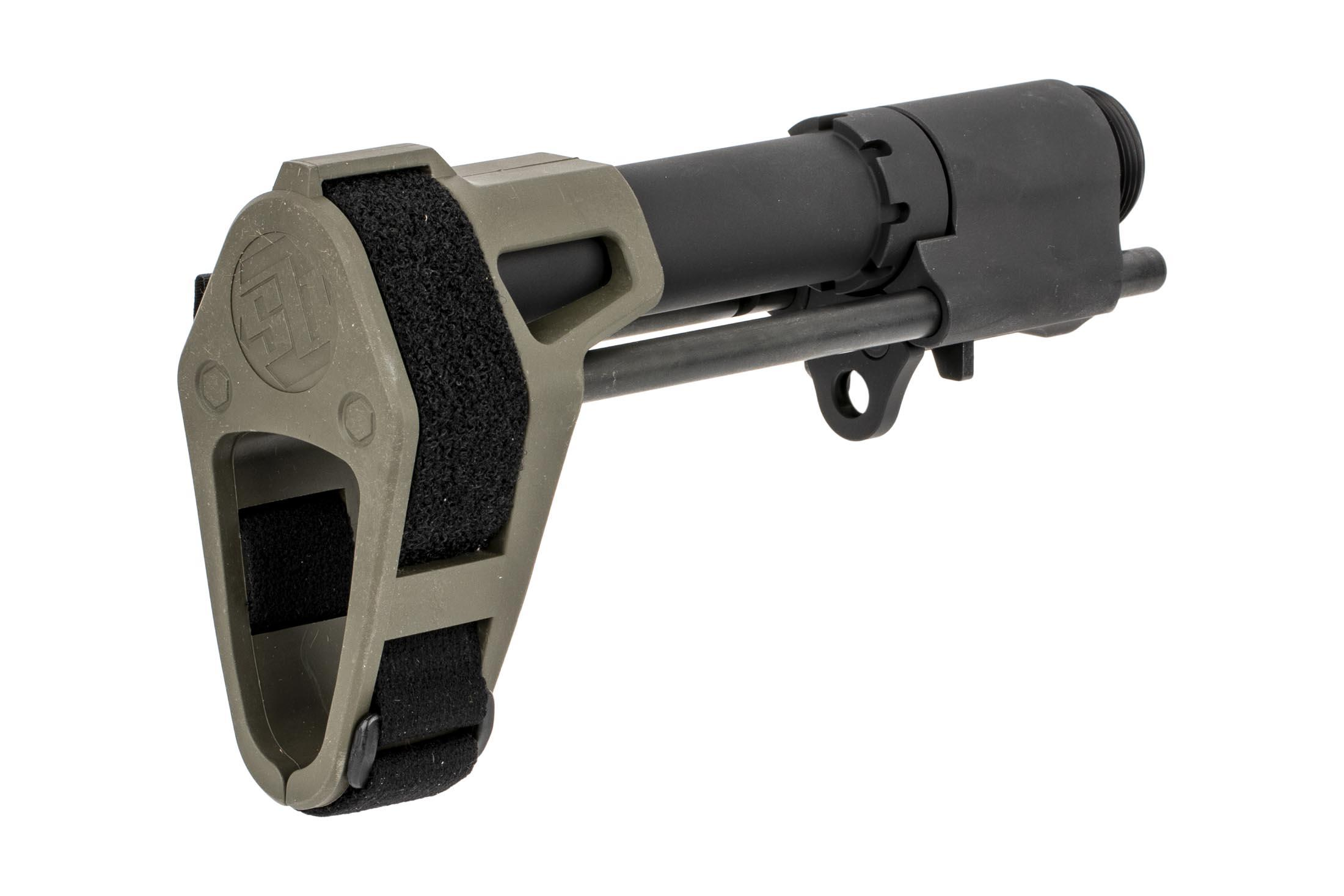 The OD Green SB Tactical SBPDW stabilizing brace comes with the 1 inch arm strap