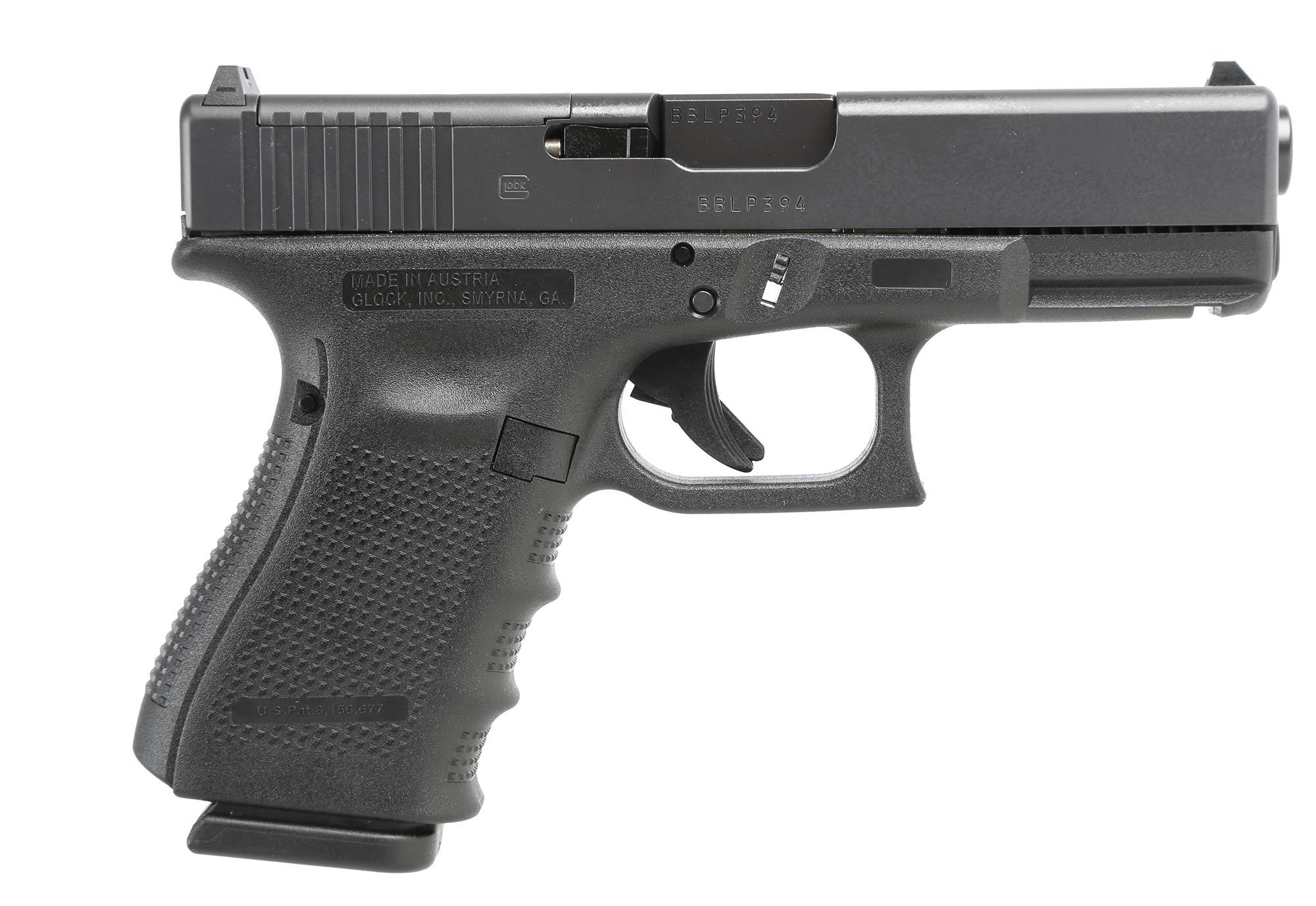 The Glock 19 Gen 4 MOS 9mm pistol comes with an adapter plate for mounting mini red dot sights