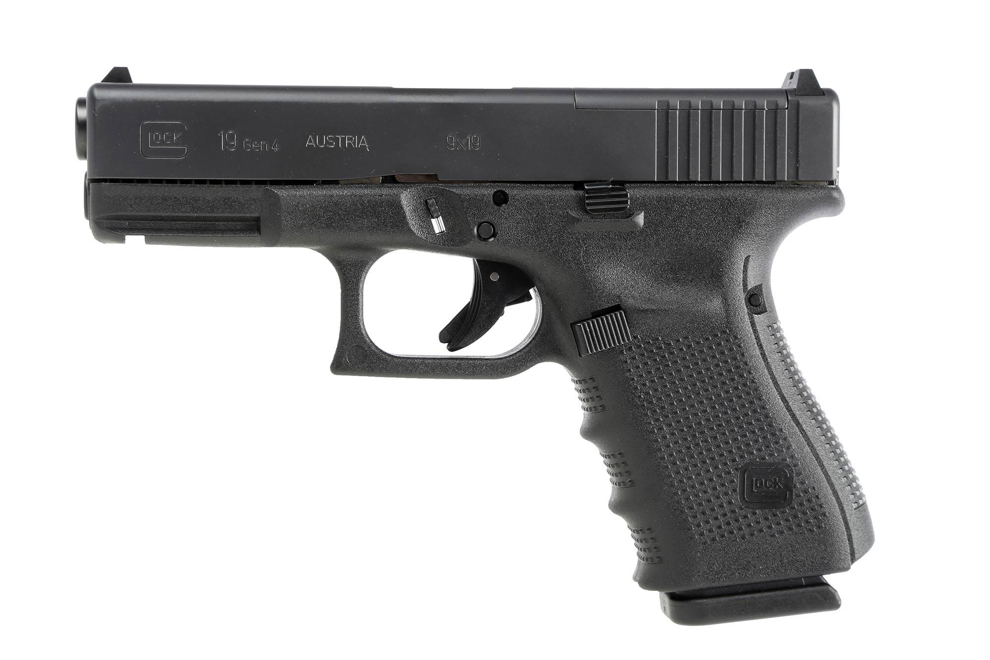 The Glock 19 Gen4 MOS compact pistol features the safe action trigger system