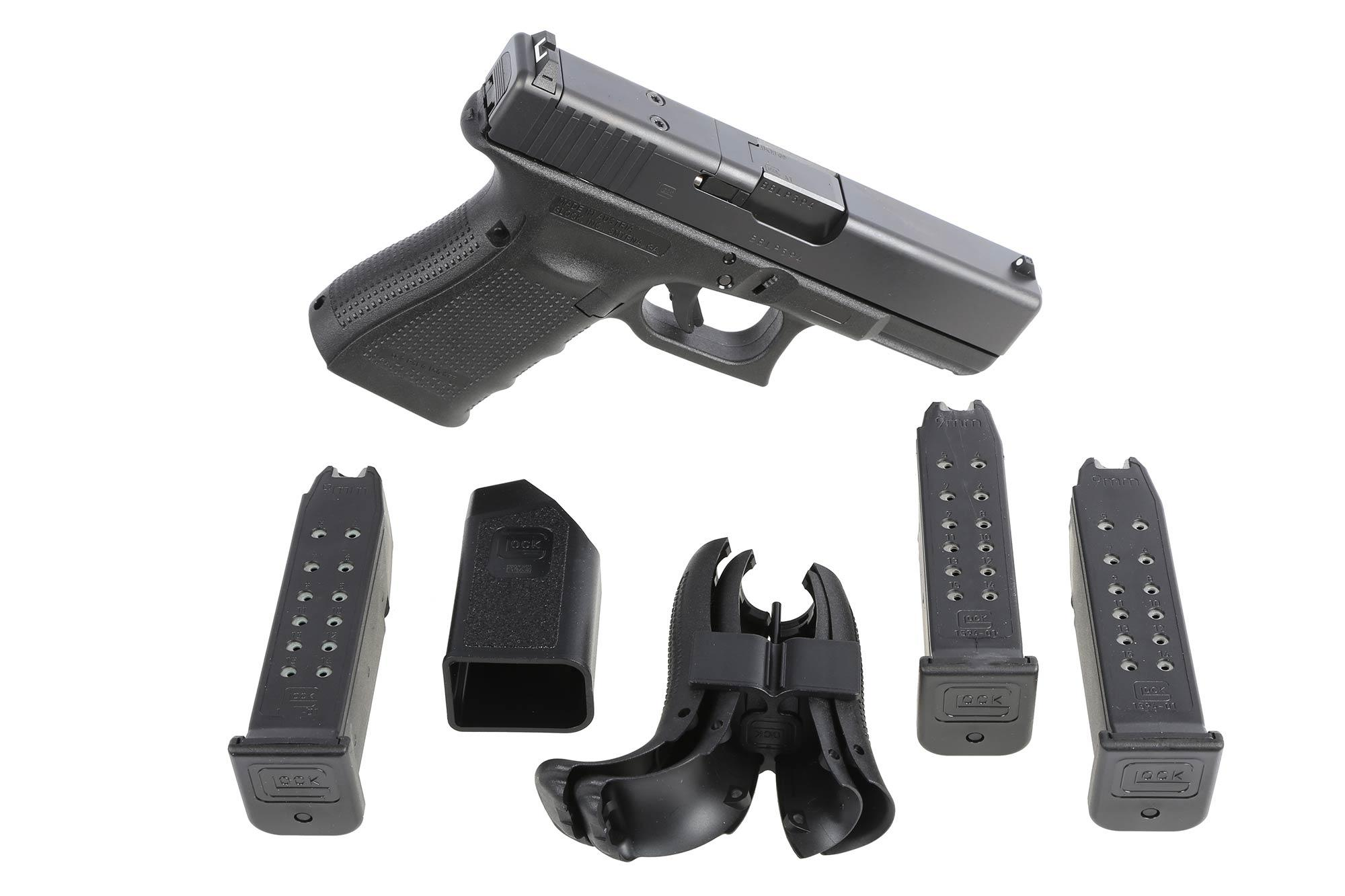 The G19 Glock handgun MOS comes with three magazines and multiple backstraps