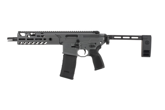 SIG Virtus 300 blackout ar pistol features a gray cerakote finish