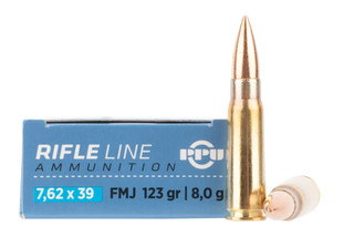 PPU 7.62x39 ammo features a brass case and full metal jacket bullet