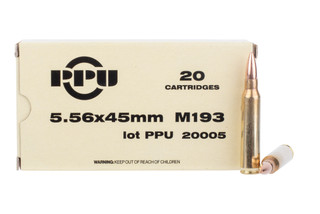 PPU 5.56 NATO ammo is loaded with an M193 FMJ bullet