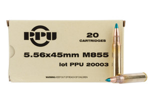 PPU Mil-Spec 5.56 NATO 62gr FMJB ammo with green tip