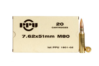 Prvi Partizan M80 is true 147gr NATO-spec 7.62x51mm ammunition compatible with .308 Win rifles, 20-round box