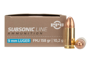 PPU Subsonic 9mm 158gr FMJ rounds feature brass casing