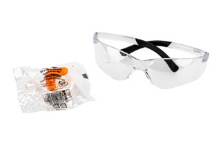 Pyramex clear mini Ztek eye protection with DP1000 disposable ear plugs.