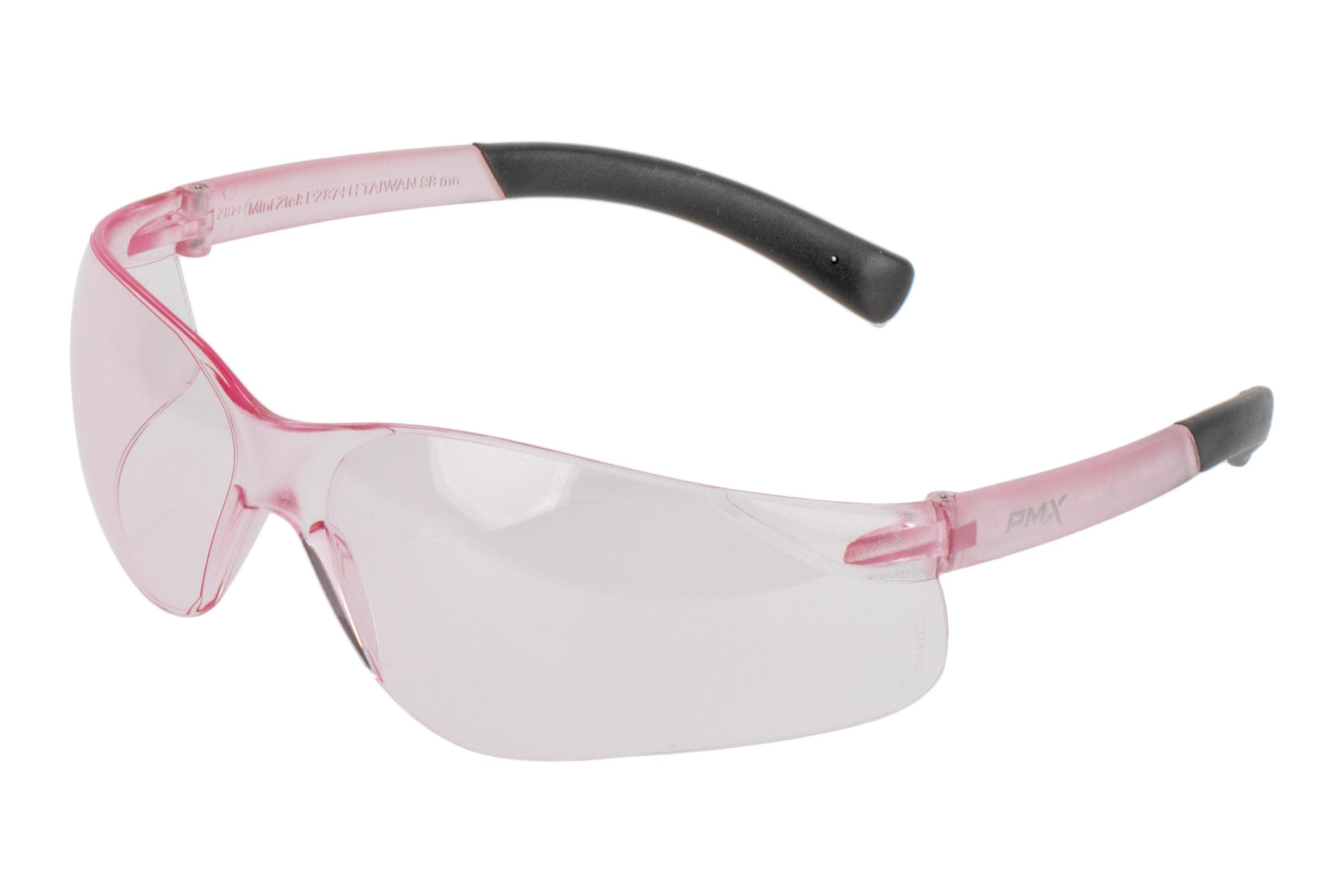 Pyramex Mini ZTEK eye protection with pink lenses, pink frames block 100% of UV and include DP1000 ear plugs.