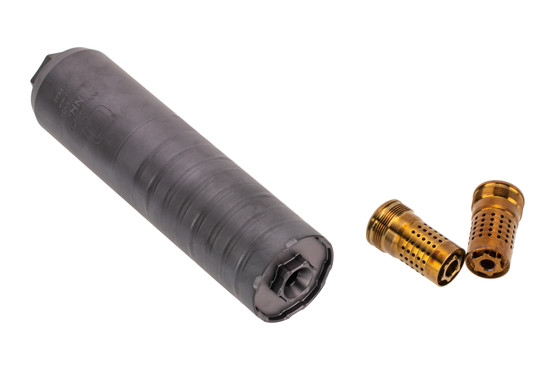 The Q Trash Panda Silencer comes with a 5.56 and 7.62 Cherry Bomb muzzle brake