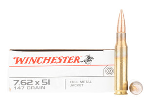 Winchester 7.62 NATO ammunition is loaded with a 147gr FMJ bullet