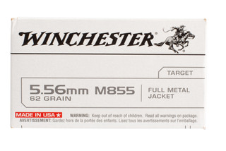 Winchester 5.56mm M855 Penetrator ammo offers a 62 grain FMJ, brass casing and steel core