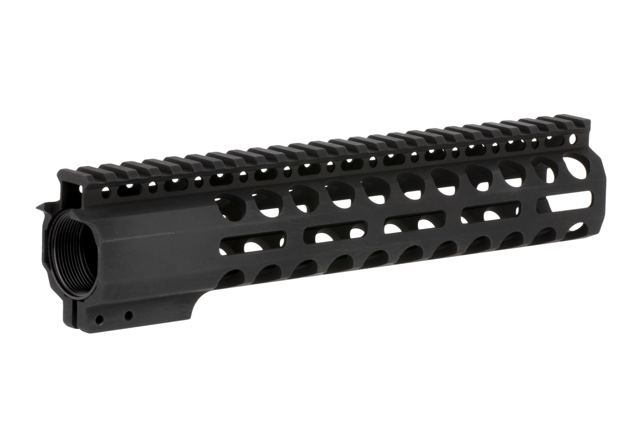 Radical Firearms 10 in Primary Arms Exclusive M-LOK rail with 3rd gen mounting system with anti-rotation tabs and a 4140 steel barrel nut