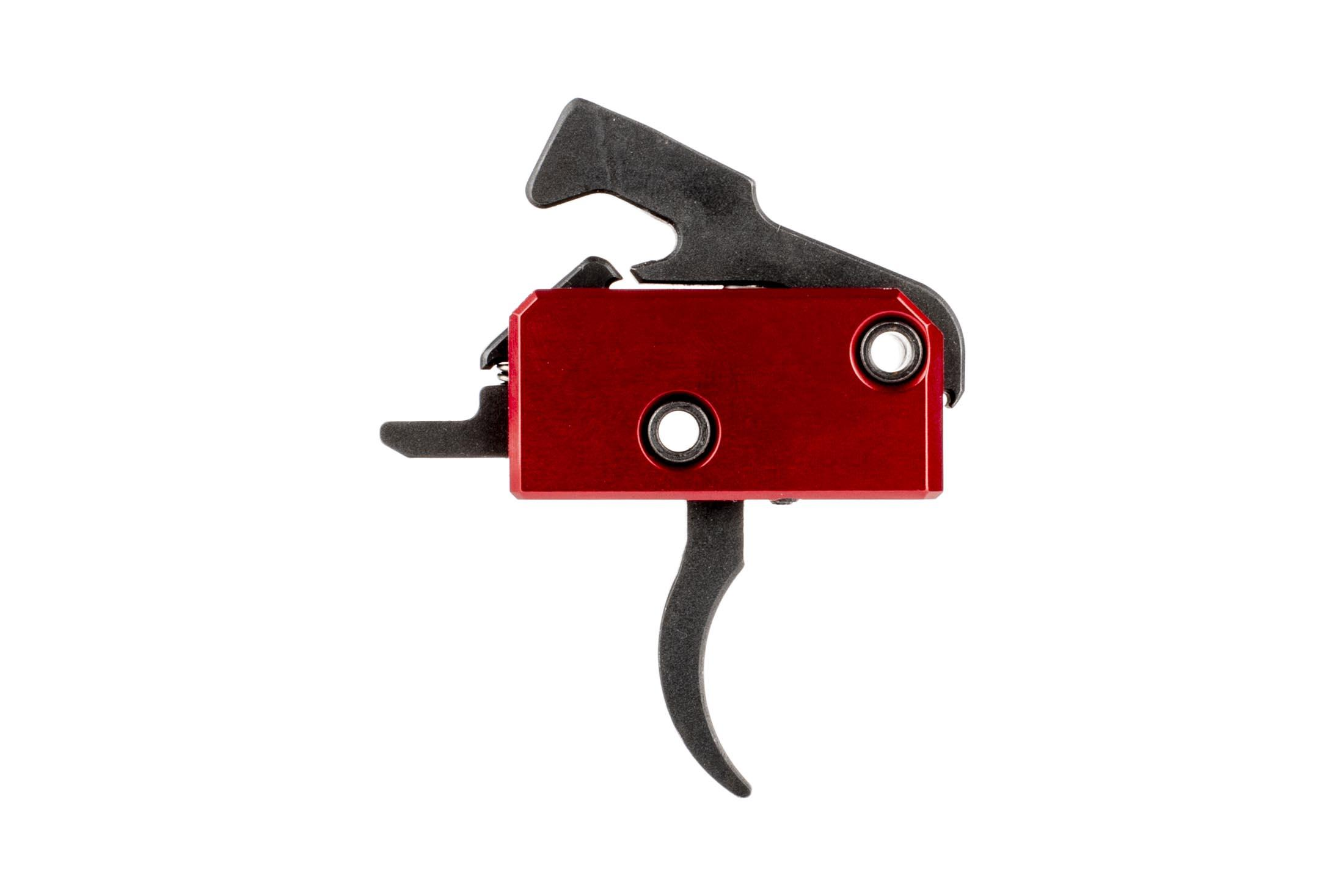 The Rise Armament Super Sporting Trigger features a red anodized finish exclusive to Primary Arms