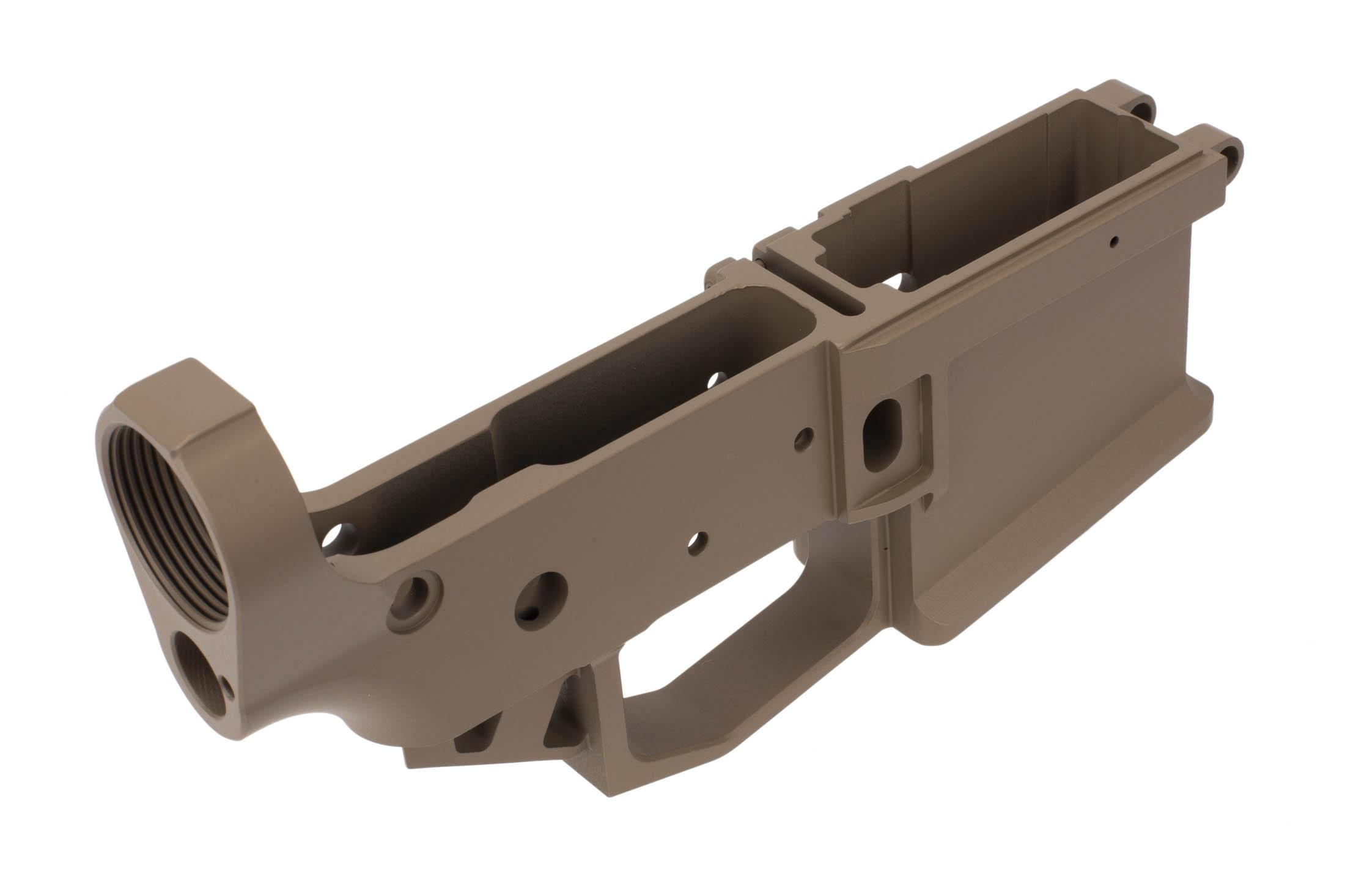 Rise Armament STRIKER flat dark earth Cerakoted AR-15 lower receiver accepts MIL-SPEC components